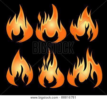 Set Of 6 Vector Fires