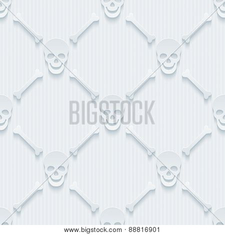 Light perforated paper with cut out effect. 3d skulls and bones seamless background. Vector EPS10.