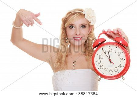 Wedding. Time To Get Married. Bride With Alarm Clock.
