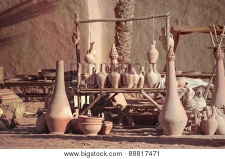 Clay pots in a village market