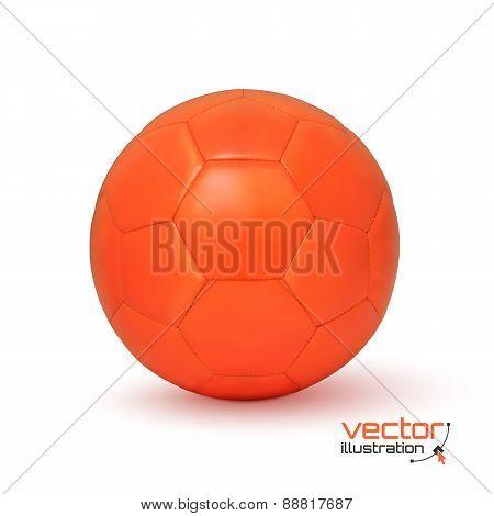 Realistic orange soccer ball.