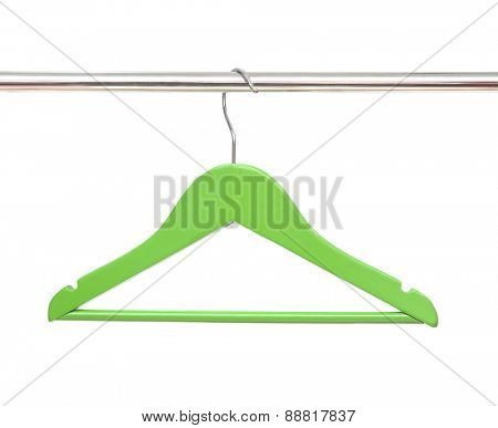 Wooden coat clothes hanger isolated on a white background