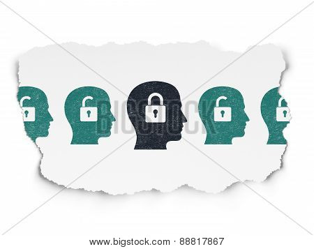 Finance concept: head with padlock icon on Torn Paper background