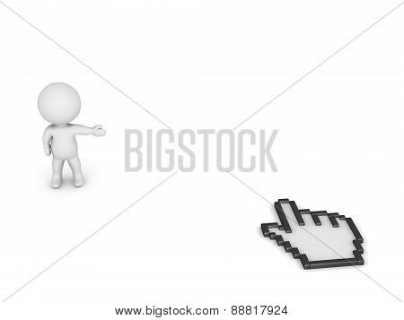3D Character Showing space and Hand Cursor