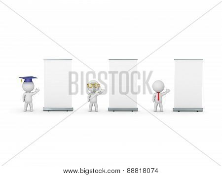 3D Characters of Graduate, Teacher and Business-man Advertising their Presentations