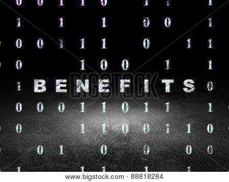 Finance concept: Benefits in grunge dark room