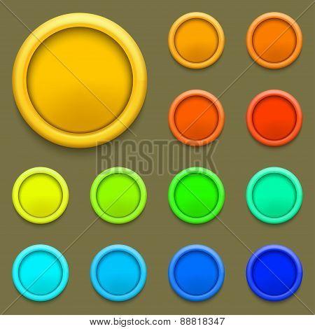 Vector modern colorful circle button set