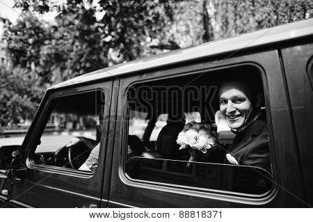 Groom Siting At The Mafia Car