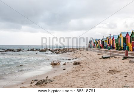 Multi-coloured Beach Huts At St. James Beach