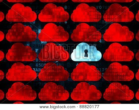 Cloud computing concept: cloud with keyhole icon on Digital