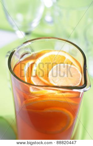 Close up of jug with orange juice