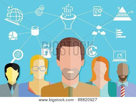 people group and data analytics concept