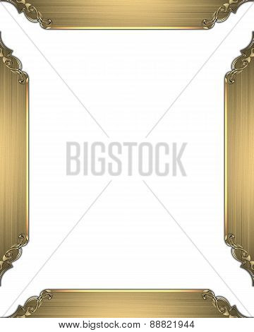 Element For Design. Template For Design. White Background With Gold Frame