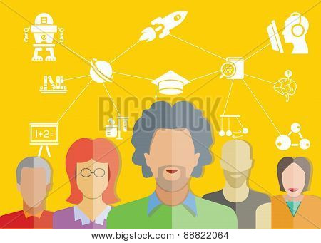 student, expert people and education concept