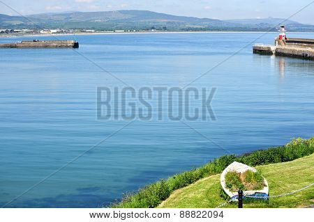 View On The Wicklow Harbour And Lighthouse