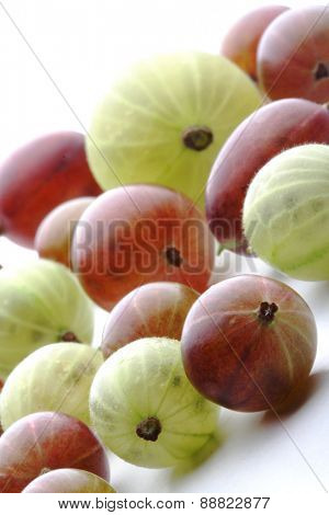 Close up of gooseberrys on white background