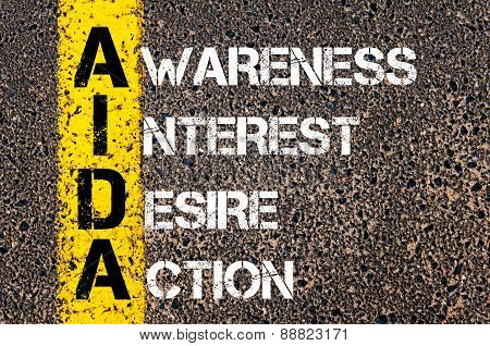 Business Acronym Aida As Awareness Interest Desire Action