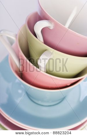 Close up of empty cup in stack