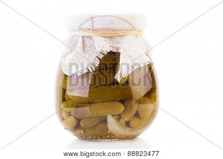 Pickled cucumbers in jar