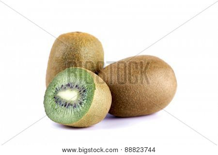 Close up of kiwi on white background
