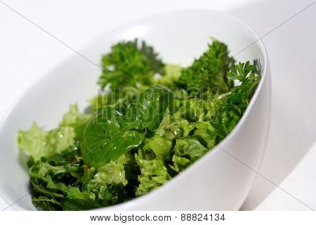 Close-up of salad in white bowl