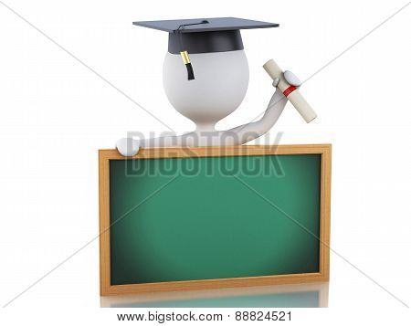 3d white people graduate with diploma, graduation cap and blackb