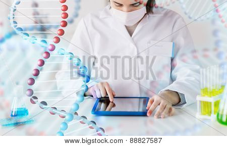 science, chemistry, biology, medicine and people concept - close up of young female scientist with tablet pc computer making test or research in clinical laboratory over dna molecule structure