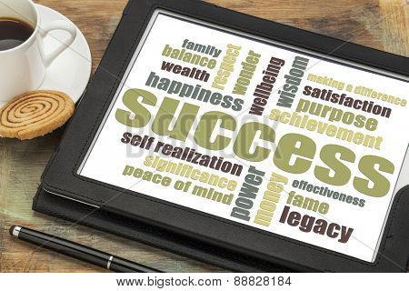 success word cloud on a digital tablet with a cup of coffee