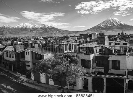 City Of Arequipa With Its Iconic Active Volcanos Of Misti And Chachani