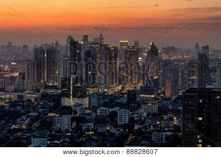 Bangkok skyline at dusk, view on the Thong Lor district, Thailand