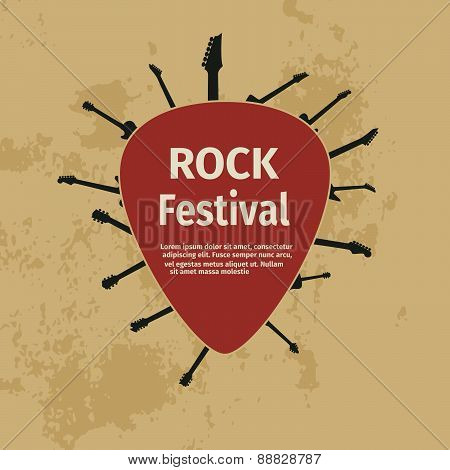 Rock festival banner with guitars and plectrum