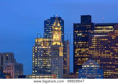 Boston skyline at sunset Custom tower Clock tower in Massachusetts USA