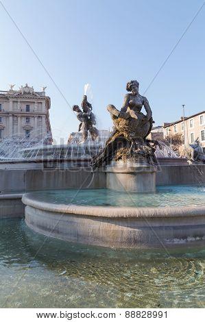 The Fountain Of The Naiads On Piazza Della Repubblica