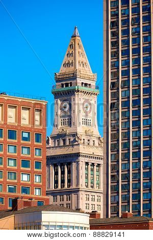 Boston Clock tower Custom House in Massachusetts USA