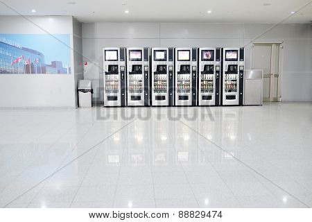 MOSCOW, RUSSIA  -  APRIL 10, 2015: Vending machines with chocolates and cold drink in Crocus City Mall