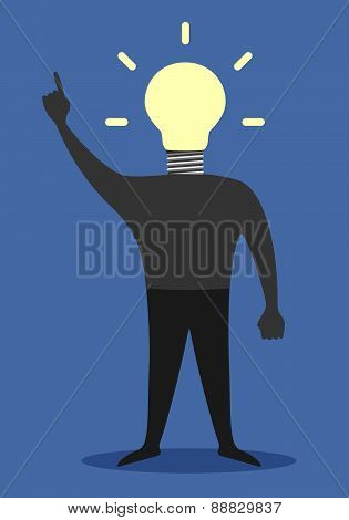 Man With Light Bulb Instead Of Head, Insight