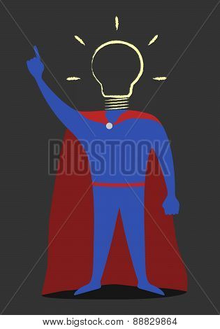 Hero With Hand-drawn Light Bulb Instead Of Head