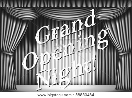 Grand opening night. stage with curtain. black and white retro illustration