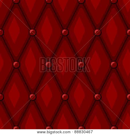 Luxury Red Leather upholstery with Buttons seamless pattern