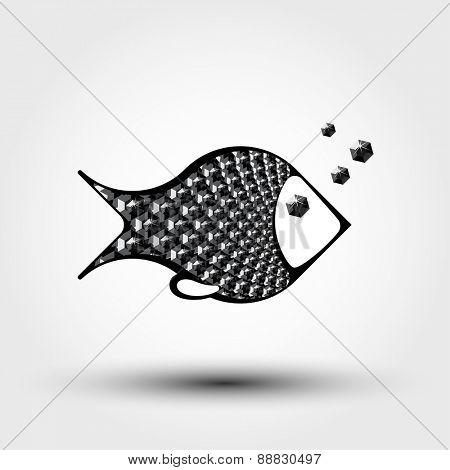 decorative abstract fish from black gems