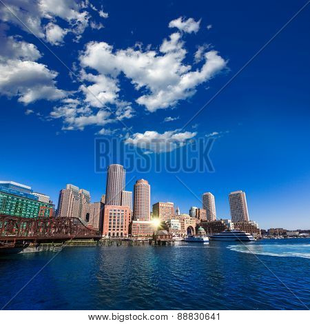 Boston skyline from Fan Pier at sunlight in Massachusetts USA