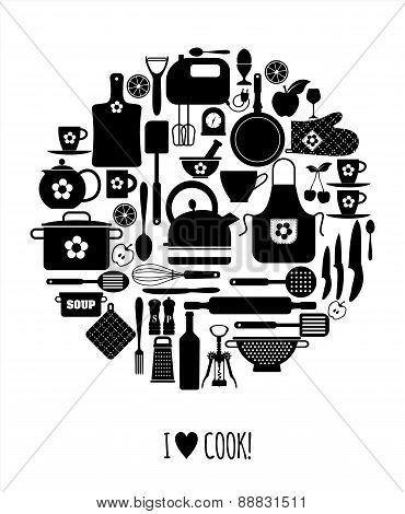 Kitchen flat icons