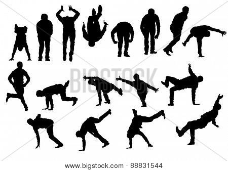 Danser boy in rap style on white background