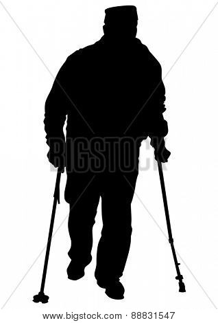 Two elderly people with cane one white background