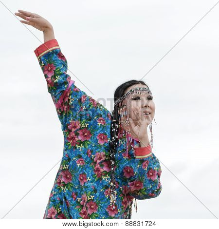 Expression woman dance - dancer Koryak Folk Dance Ensemble Angt. Kamchatka, Russia