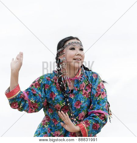 Expression woman dance - dancer Koryak Folk Dance Ensemble Angt. Russia, Kamchatka