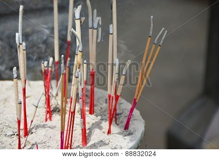 Incense In A Buddhist Temple
