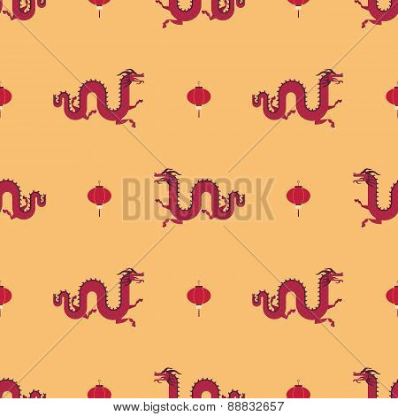 Chinese dragons and lanterns pattern