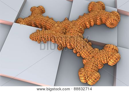 3D render of abstract shape fractal