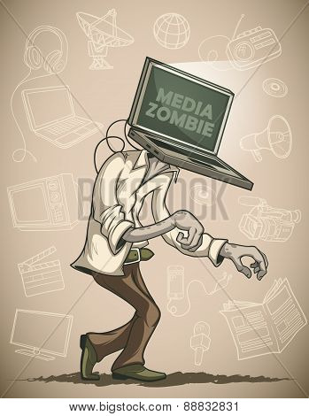 Media zombie with a laptop instead of a head